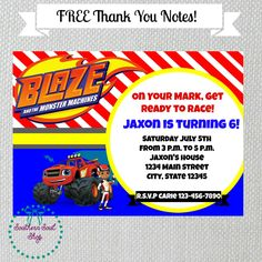 Blaze and the Monster Machines Birthday Party Invitation FREE Thank You Notes Personalized Digital by SouthernSoulshop on Etsy