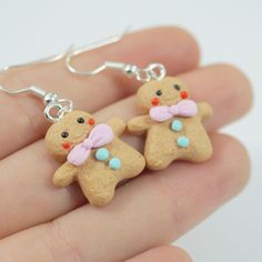 Gingerbread Earrings,Miniature Food, Polymer Clay Miniatures, Fake Food Miniatur #FIMO