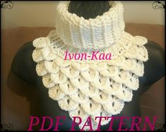 Crochet pattern Woman Dragon Cowl - Dragon Neck Warmer PDF pattern, Crocodile stitch cowl, Instant d