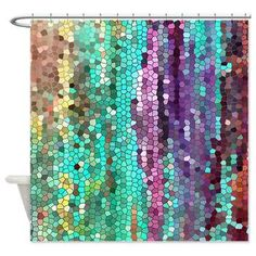 Beautiful Shower Curtain Teal And Purple Mosaic Unique Fabric Colorful Bathroom Decor Art For The