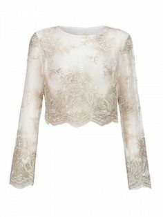 Shop Golden Long Sleeve Sheer Lace Crop Top from choies.com .Free shipping Worldwide.$18.9