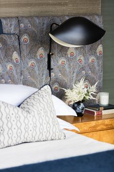 the Master bedroom with peacock fabric and lights and by Interior Inspiration, Room Inspiration, London Home Decor, Peacock Fabric, Soho House, Bedroom Decor, Master Bedroom, Wall Decor, Home Art