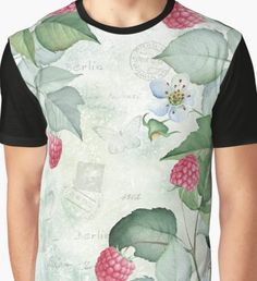 'Watercolour Floral - White & Pink Roses Graphic T-Shirt by Floral Watercolor, Watercolour, White And Pink Roses, Chiffon Tops, Duvet Covers, Floral Design, Classic T Shirts, Vintage Fashion, Mens Tops