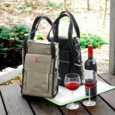 Personalized Khaki Insulated Wine Cooler Tote