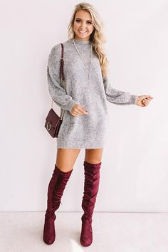 Sweater dress - Cheers For Cozy Sweater Dress In Dark Grey – Sweater dress Winter Outfits Women, Casual Fall Outfits, Casual Dresses, Christmas Outfits For Women, Edgy Outfits, Dresses Dresses, Fall Dresses, Spring Outfits, Sweater Dress Outfit
