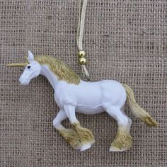 Unicorn Christmas ornament, kitsch retro repurposed toy, hanging decoration gold white sparkly kitsch unicorn, quirky hanger, bauble fantasy