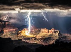 lightning storm over canyon