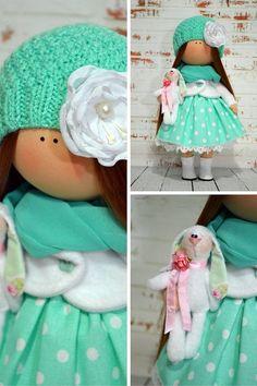Nursery doll Interior doll Rag doll Art doll Handmade doll Green doll Tilda doll Soft doll Fabric doll Cloth doll Collectable doll by Olga S Rag Doll Tutorial, Doll Home, Digi Stamps, Soft Dolls, Fabric Dolls, Beautiful Dolls, Doll Clothes, Nursery, Make It Yourself