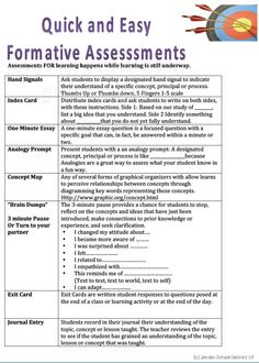Quick and easy formative assessments.