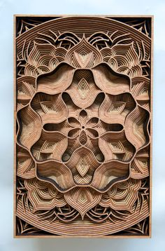 Using precisely laser-cut 1/8″ pieces of  mahogany plywood, Gabriel Schama creates detailed wall relief sculptures. The Oakland-based artist creates his patterns in a vector illustration program which are then cut out in wood with his laser-printer. After Schama collects the plywood he assembles the pieces and glues them by hand.