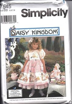 UNCUT Vintage Simplicity Sewing Pattern Girls Daisy Kingdom Dress + Doll 7545 FF #Simplicity