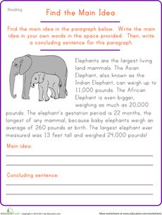 Find the Main Idea: Elephant Worksheet - students create their own concluding sentence