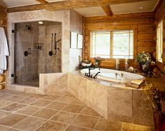 log homes picture gallery | masterbathroom with granite tile and two person shower