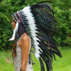 Black Indian Headdress - 95cm