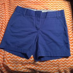 NWOT JCrew Chino Shorts in Blue (Size 2) Gorgeous shorts! Unfortunately I ordered them in the wrong size. I have them in a variety of colors in my right size and love them! Wash and dry easily, fit is flattering and the length is perfect and versatile. J. Crew Shorts