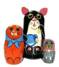 3 Pieces Panda Family Matryoshka Russian Wooden Nesting Dolls