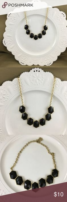 Black & Gold-tone Statement Necklace - NWOT Black & Gold-tone Statement Necklace NEW WITHOUT TAG! Lightweight and not heavy Lays flat at neckline (see photo) Adjust chain for length you like  NOTE -- my jewelry items are prices a little higher to allow for offers and discounts  AP-5-20 Fashion Jewelry Jewelry Necklaces