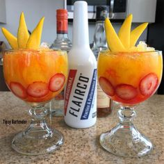 Mango Mai Tai 1oz spiced rum, 1oz mango rum, 3oz mango nectar, Top off with grenadine