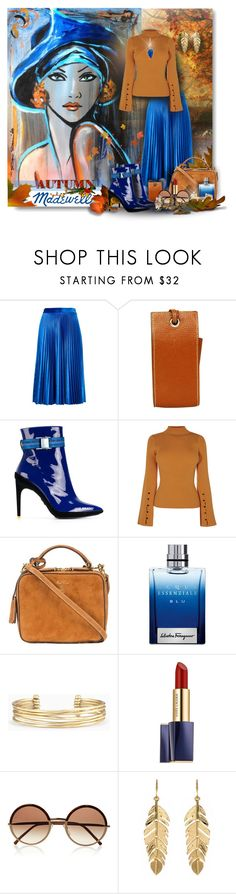 """AUTUMN BLUES"" by angelflair ❤ liked on Polyvore featuring MSGM, Hermès, Off-White, Mark Cross, Madewell, Salvatore Ferragamo, Stella & Dot, Estée Lauder, Cutler and Gross and Amrita Singh"