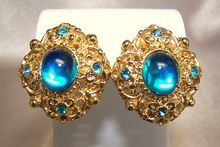 Two Sisters Turquoise Rhinestone Goldtone Pierced Earrings Signed