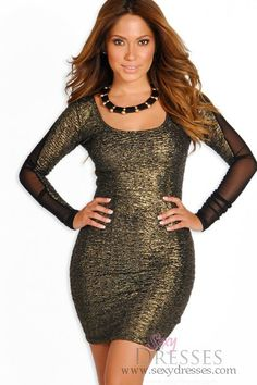 Lustre Gold and Black Textured Long Sleeve Party Dress
