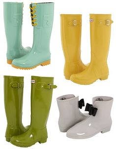 Big rain calls for big solutions  See by Chloe boots in niagra: $156 (on sale)Hunter originals in yellow: $125Hunter original gloss in pea green: $103.50 (on sale) I also like the grey, but those arent on saleVivienne Westwood ankle boots in grey: $134
