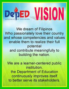 Teacher Fun Files: DepEd Vision, Mission and Core Values Poster Missions Bulletin Board, Elementary Bulletin Boards, Teacher Bulletin Boards, Birthday Bulletin Boards, Elementary Library, Classroom Display Boards, Classroom Decor, Classroom Design, Classroom Rules Poster