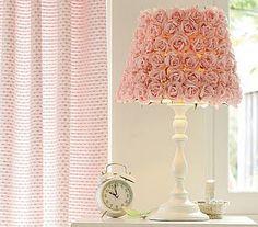 DYI rosette lamp...xoxo    http://attemptingaloha.blogspot.com/2010/11/pottery-barn-kids-lamp-knock-off.html