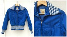70's Roffe Ski Jacket  Bright Blue with Knit by ElkHugsVintage