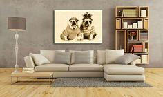 Decoración de pared - Cuadro en Lienzo - Sepia Bulldogs - hecho a mano por grafikovo en DaWanda