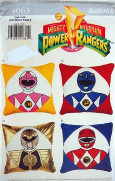 Power Ranger Pillows With Three Iron-On Transfers by NeedANeedle