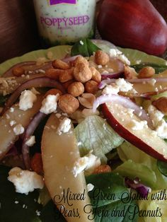 Turnips 2 Tangerines: Mixed Green Salad with Pears, Feta and Peanuts