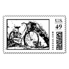 Black and White Bicycle Postage Stamp