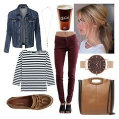 """""""Casual Fall Walk"""" by emmasorrell on Polyvore featuring LE3NO, J.Crew, James Jeans, Maje, Olivia Burton, Cole Haan and By Emily"""