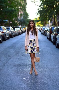floral skirt with tank top and blazer