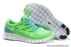 New Nike Free Run 2 Green Apple White Anthracite Chlorine Blue 443815-314 Size 12