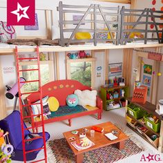 Welcome to the secret clubhouse! Take a tour and tell us how you would hang out. With friends? Up in the loft? Curled up with a book? American Girl House, American Girl Doll Room, American Girl Clothes, Girl Doll Clothes, American Girls, Miniature Furniture, Doll Furniture, Ag Dolls, Girl Dolls