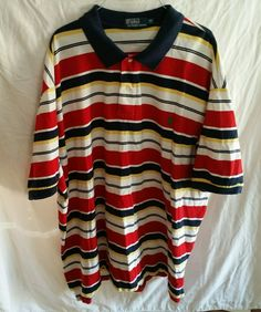 Polo By Ralph Lauren 4XB  4X (Big)  Striped Polo Style Golf Shirt cotton  #PoloRalphLauren #PoloRugby