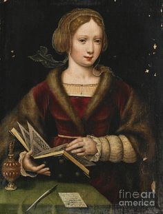 A Lady Leafing Through a Book, Possibly Mary Magdalene Antwerp School. Oil on oak panel. This charming painting, by an as yet unidentified hand, shares some characteristics with the. Reading Art, Woman Reading, Renaissance Paintings, Renaissance Art, Italian Renaissance, Landsknecht, Mary Magdalene, Books To Read For Women, Albrecht Durer