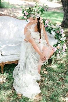 Allie Lindsey Photography | Floral Designer: Classic Blooms Studio | Event Planner: Little Lover Events | Lingerie: Eberjey | Headpiece: Vintage | Gown: handmade by Little Lover Events