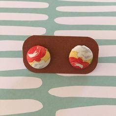 Gorgeous Fabric Covered Button Earrings (15mm, stainless steel 1A) by sunshineandsparrow on Etsy