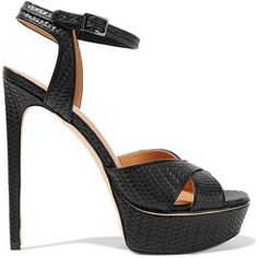 Halston Heritage Naomi embossed leather sandals (14,485 INR) ❤ liked on Polyvore featuring shoes, sandals, black, black high heel shoes, leather platform sandals, leather sandals, platform sandals and buckle sandals