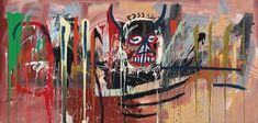 """Jean-Michel Basquiat, Untitled (1982) Christies 2016 $57,285,000 Japanese collector Yusaku Maezawa 'I had an immediate visceral connection to it. Generationally, I relate to Basquiat's culture and the essence of his life story."""" Must do drugs."""