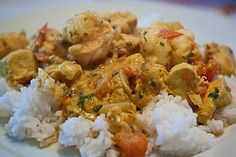 From Madagascar: Malagasy Prawn & Chicken Curry.  One of our family favorites!