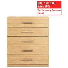 Buy HOME Normandy 5 Drawer Chest - Oak Effect at Argos.co.uk, visit Argos.co.uk to shop online for Bedside cabinets