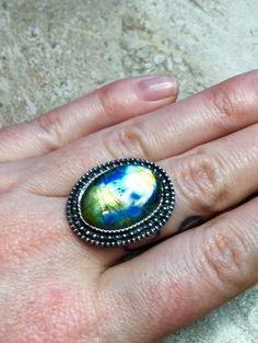 Labradorite Ring Labradorite Pendant by GemstonedByStef on Etsy