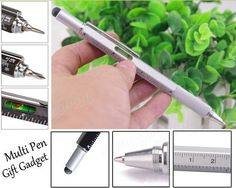 EXCELENTE QUALIDADE!  ÓTIMO PRESENTE!  CANETA MACGYVER!  MUITO PRÁTICO!  Funciona como caneta azul, régua (cm e in), caneta para celular (touch, nível, c...