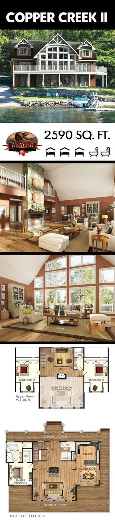A superior two-story lake house. The windows create the largest display of picturesque views imaginable. #BeaverHomesAndCottages