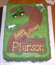 John Deere number birthday cake plow tractor plowed field