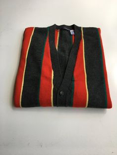 81f40de79 Tommy Hilfiger Vintage 1990 s Men s Bright Wool Striped Cardigan Sweater  Size XL